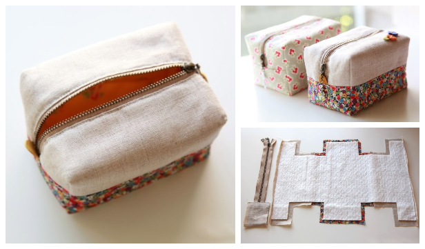 DIY Fabric Block Zipper Pouch Free Sewing Pattern and Tutorial