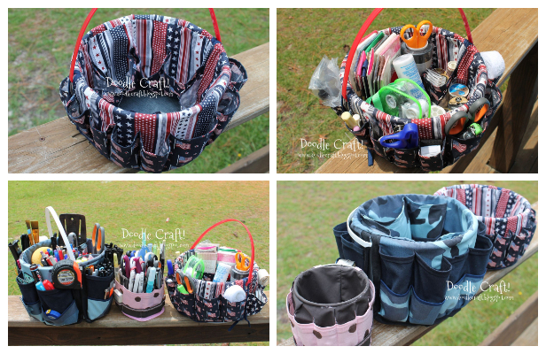 DIY Fabric Bucket Bag Organizer Free Sewing Pattern