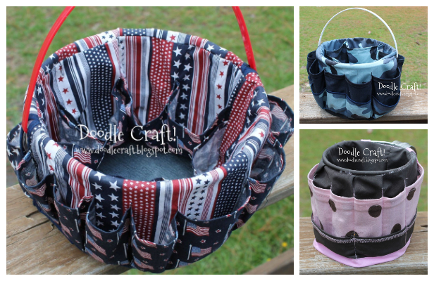 DIY Fabric Bucket Bag Organizer Free Sewing Pattern
