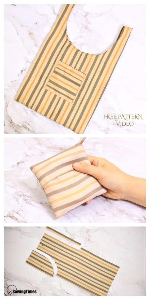 DIY Fabric Foldable Shopping Bag Free Sewing Patterns + Video