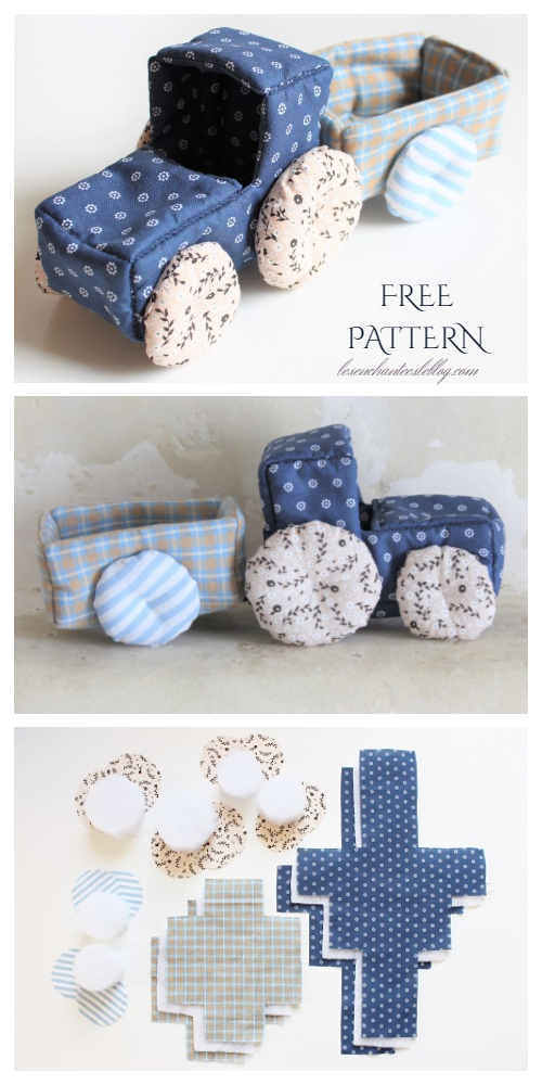 DIY Fabric Toy Tractor Free Sewing Pattern