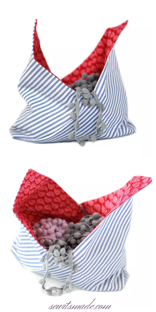 DIY Reversible Fabric Origami Bento Bag Free Sewing Patterns