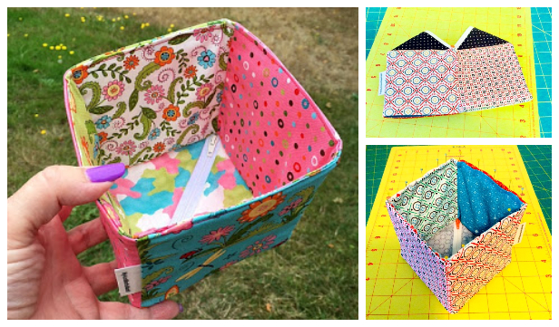 DIY Patchwork Collapsible Box Free Sewing Patterns