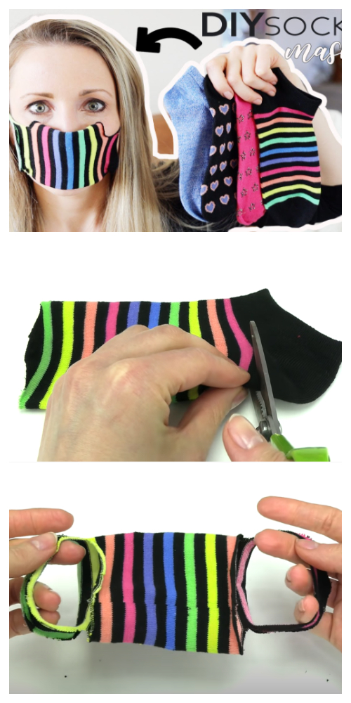 Easy No Sew Sock Face Mask DIY Tutorials + Video