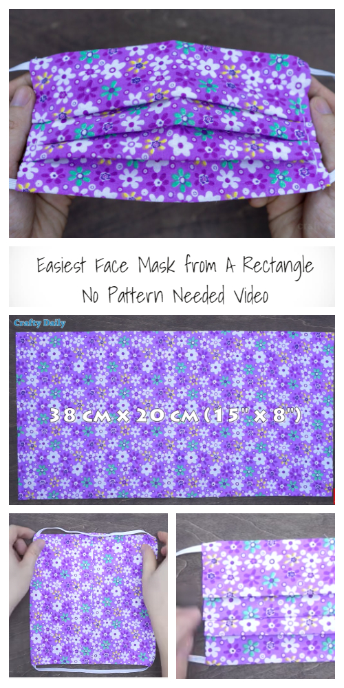 Easy Rectangle Fabric Face Mask DIY Tutorials+ Video