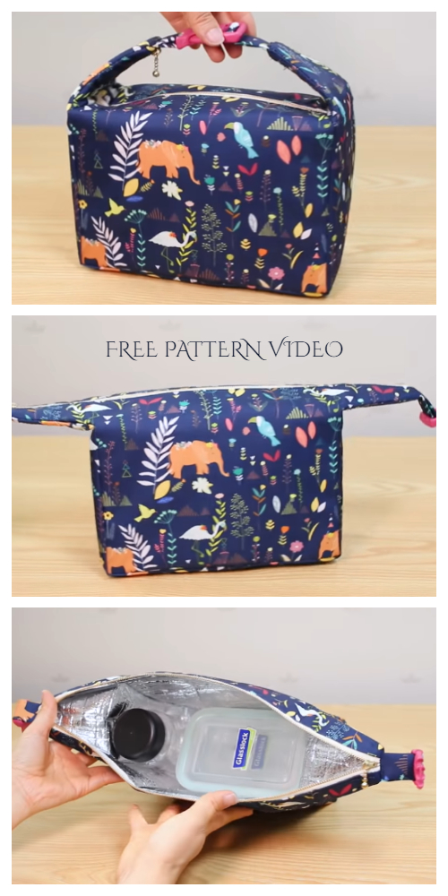 DIY Insulated Fabric Lunch Bag Free Sewing Pattern + Video