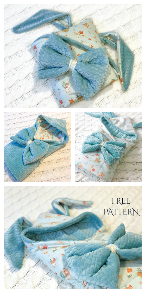 DIY Reversible Fabric Baby Bunny Sleeping Bag Blanket Free Sewing Pattern
