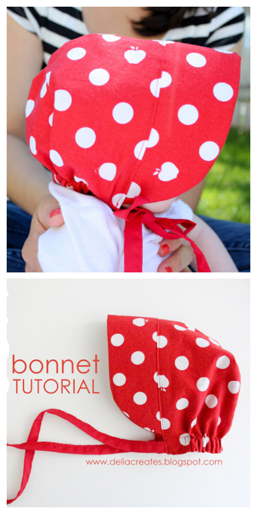 Red Baby Sun Bonnet Free Sewing Patterns