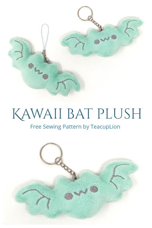 Kawaii Bat Plush Keychain Free Sewing Pattern