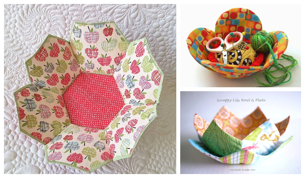 DIY Fabric Flower Bowl Free Sewing Patterns