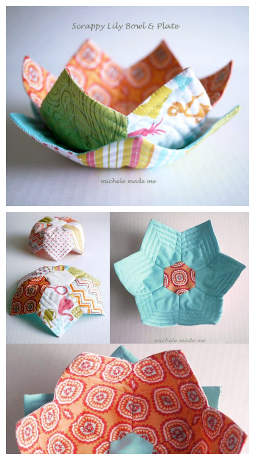 DIY Fabric Lily Flower Bowl Free Sewing Patterns