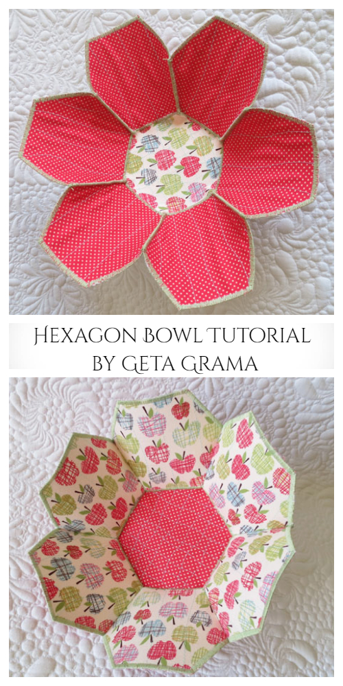 DIY Fabric Flower Hexagon Bowl Free Sewing Patterns
