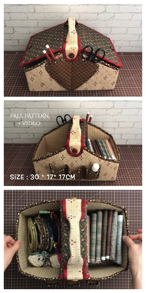 DIY Fabric Sewing Basket Free Sewing Pattern + Video