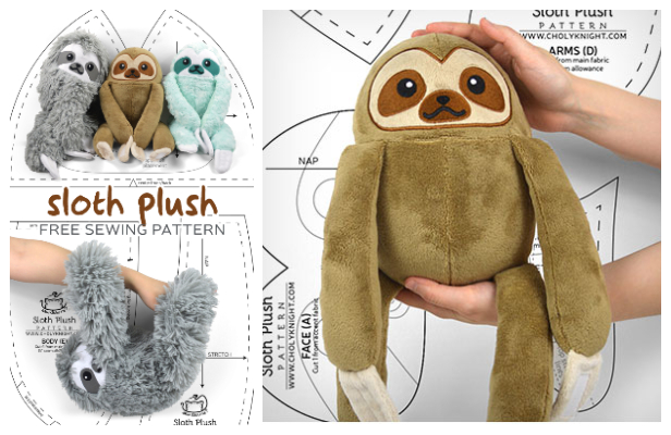 DIY Fabric Toy Sloth Free Sewing Patterns and Tutorial