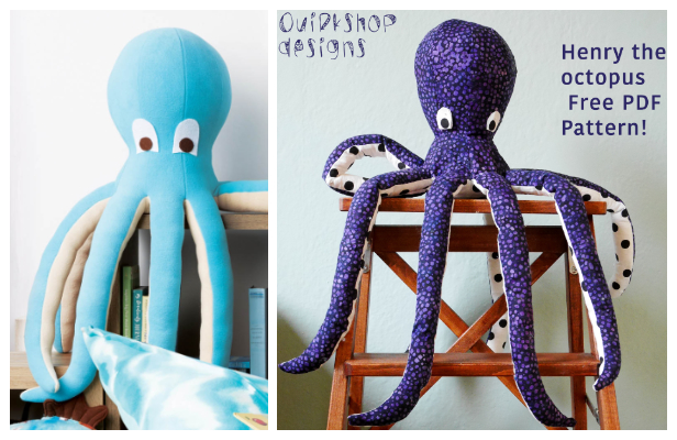 DIY Fabric Toy Octopus Free Sewing Patterns