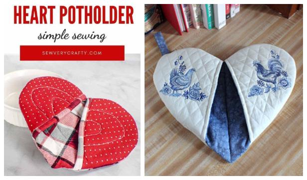 DIY Quilt Heart Potholder Free Sewing Patterns