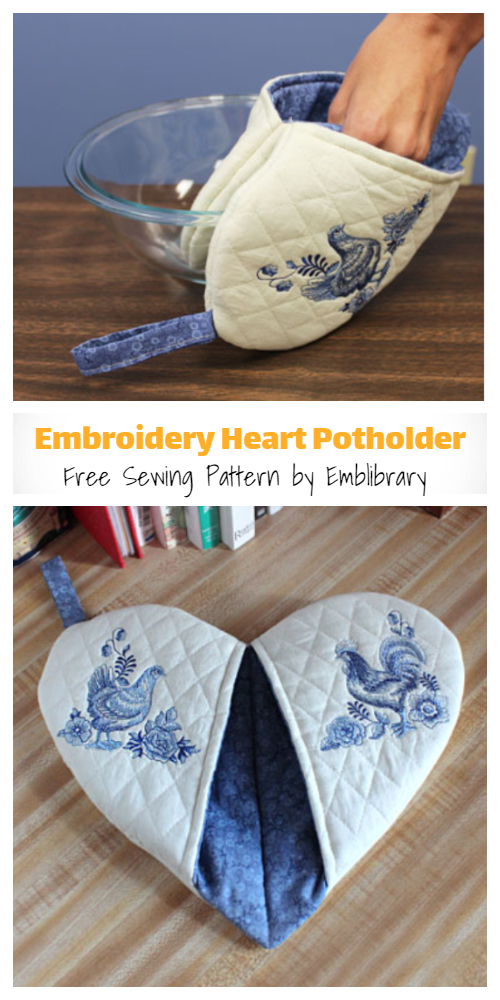 DIY Embroidery Heart Potholder Free Sewing Patterns