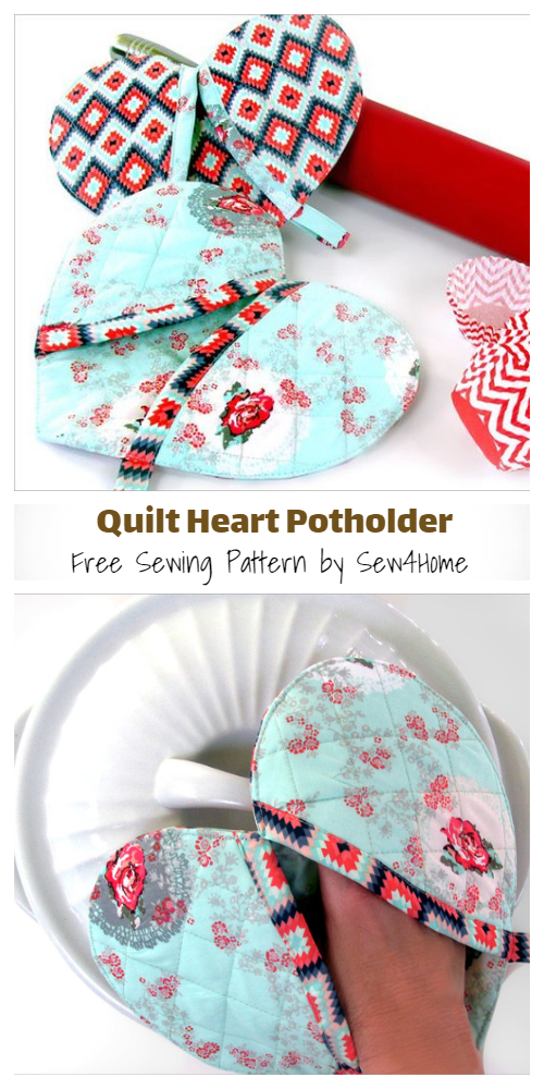 DIY Quilt Heart Oven Mittens Free Sewing Patterns