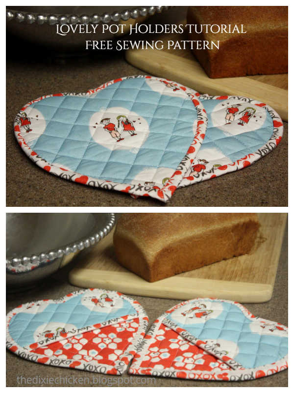 Lovely Quilt Heart Pot Holders  Free Sewing Pattern & Tutorial
