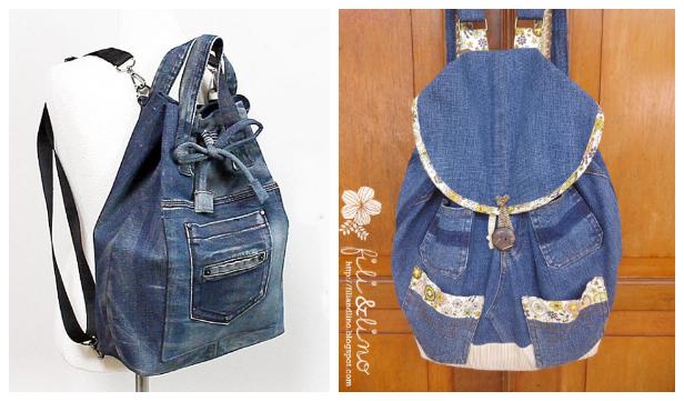 DIY Jean Backpack Free Sewing Patterns