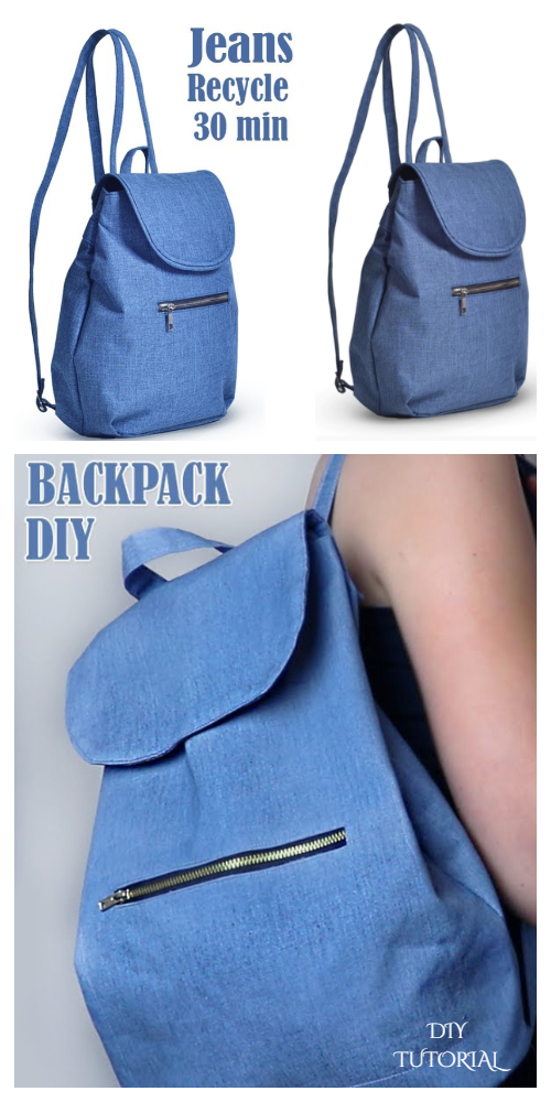 DIY Jean Backpack Free Sewing Patterns + Video