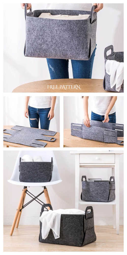 DIY No Sew Felt Storage Basket Free Patterns