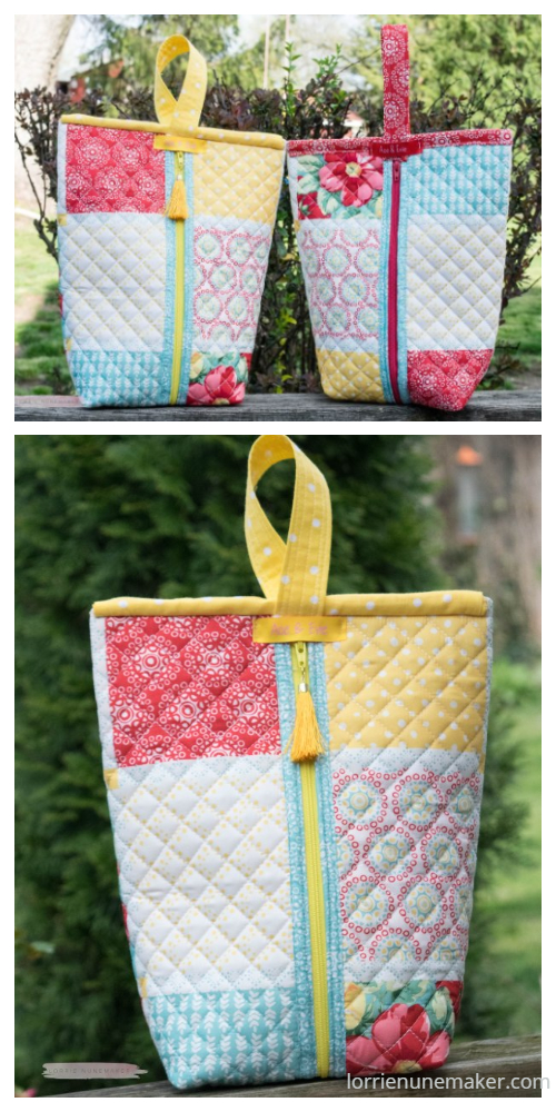 DIY Quilted Zipper Sack Bag Free Sewing Patterns + Video