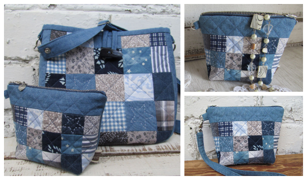 DIY Quilt Jean Cosmetic Bag Free Sewing Pattern