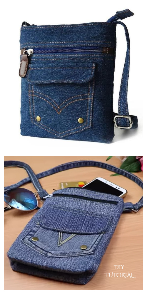 DIY Recycled Jean Cross Body Bag Free Sewing Patterns + Video