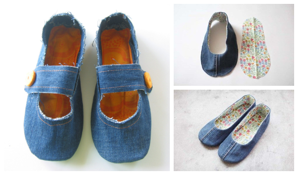 DIY Repurposed Jean House Slippers Free Sewing Patterns