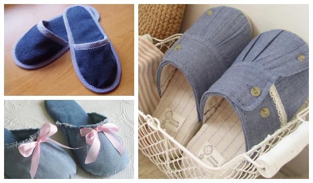 DIY Repurposed Jean Spa Slippers Free Sewing Patterns f