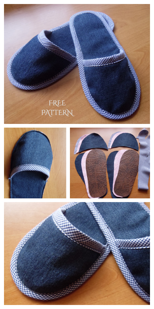 DIY Pretty Demin Jean Spa Slippers Free Sewing Patterns
