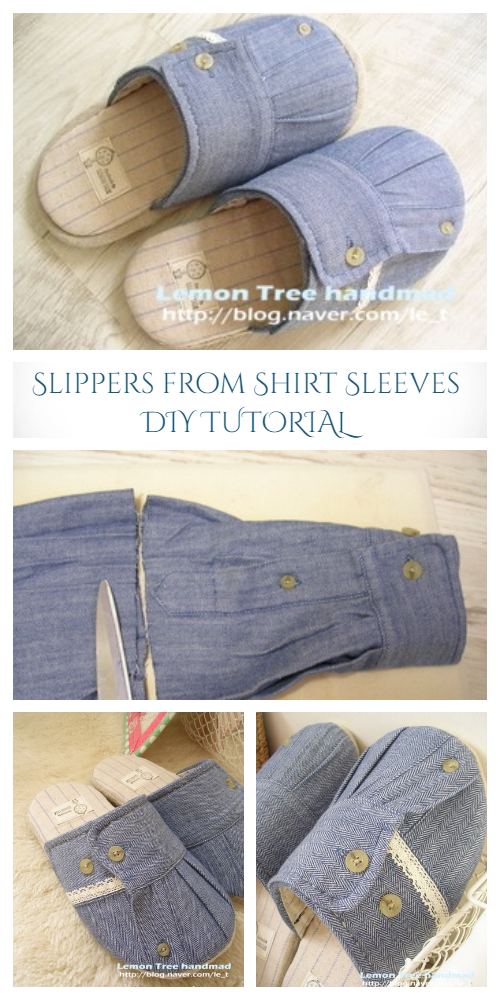 DIY Shirt Sleeve Spa Slippers Free Sewing Patterns