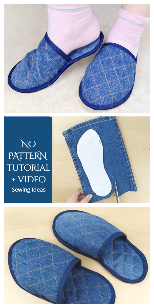 DIY Repurposed Jean Spa Slippers Free Tutorial + Video