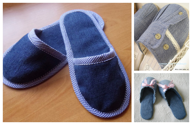 DIY Repurposed Jean Spa Slippers Free Sewing Patterns ft