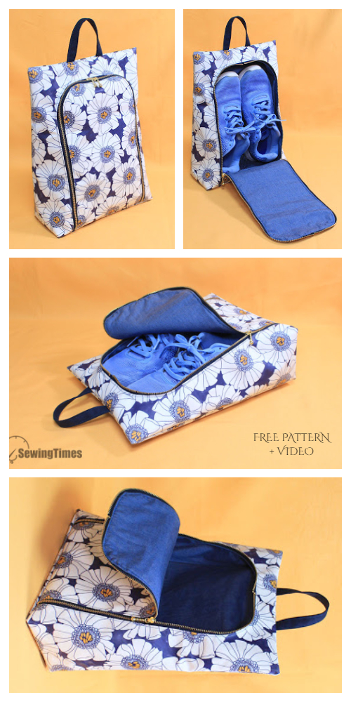 DIY Travel Shoe Bag Free Sewing Pattern + Video