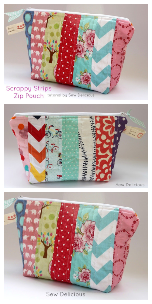 Easy Scrappy Zipper Pouch Free Sewing Patterns