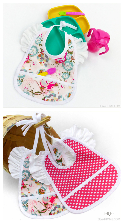Baby Bib with Ruffles Free Sewing Pattern