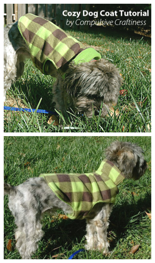 DIY Fabric Cozy Fleece Dog Coat Free Sewing Patterns