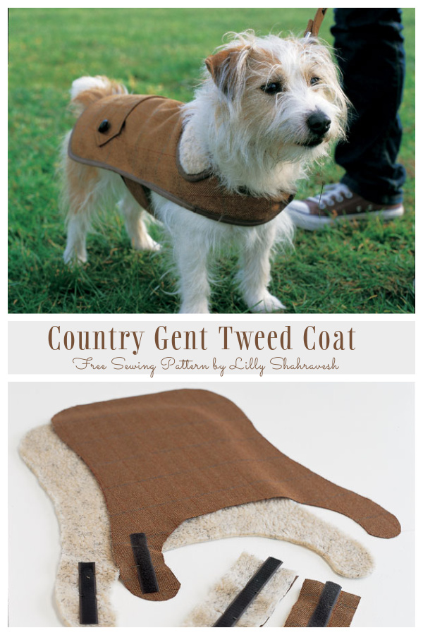 DIY Fabric Dog Country Gent Tweed Coat Free Sewing Patterns