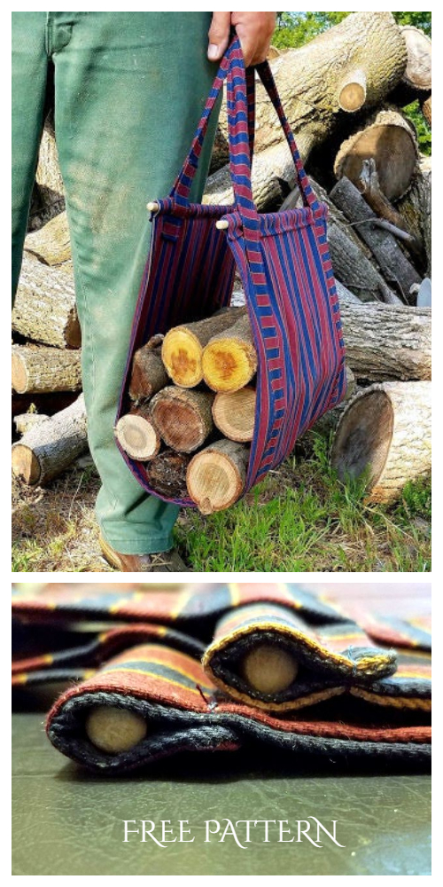 DIY Heavy-Duty Canvas Firewood Carrier Free Sewing Patterns