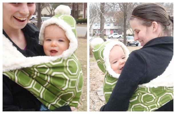 DIY Fabric Hooded Winter Baby Sling Free Sewing Pattern