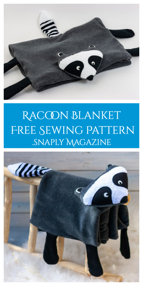 DIY Fabric Racoon Blanket Free Sewing Pattern