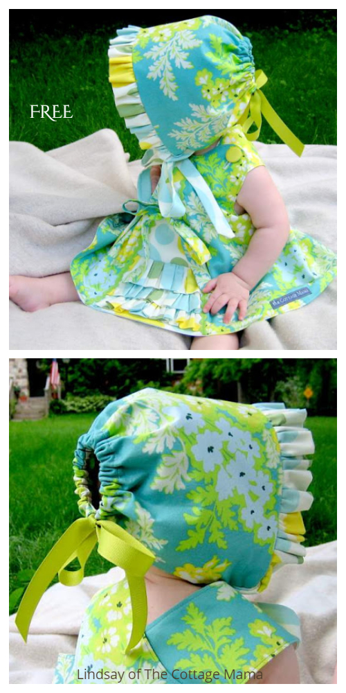 DIY Ruffled Baby Bonnet Free Sewing Patterns