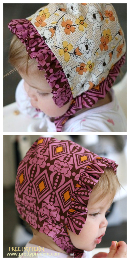 DIY Reversible Ruffled Baby Bonnet Free Sewing Patterns
