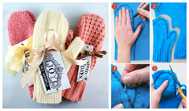 Easy Mittens From Sweater DIY Tutorials + Video