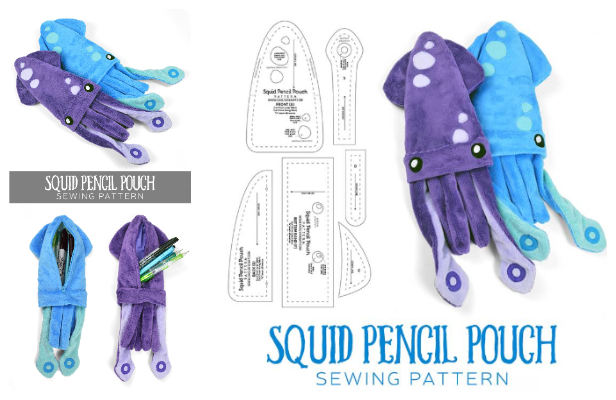 DIY Fabric Squid Pencil Pouch Free Sewing Pattern