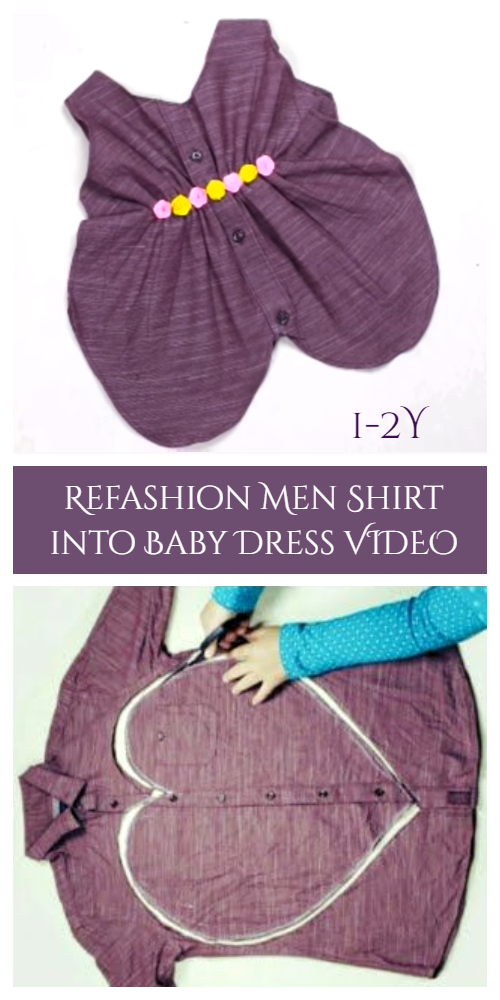 Refashion Men Shirt into Baby Dress DIY Tutorial - Heart Cut