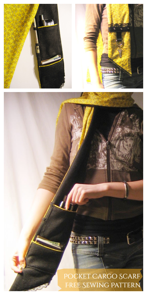 DIY Fabric Pocket Cargo Scarf Free Sewing Pattern