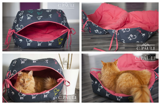 DIY Fabric Cat Cave Free Sewing Pattern